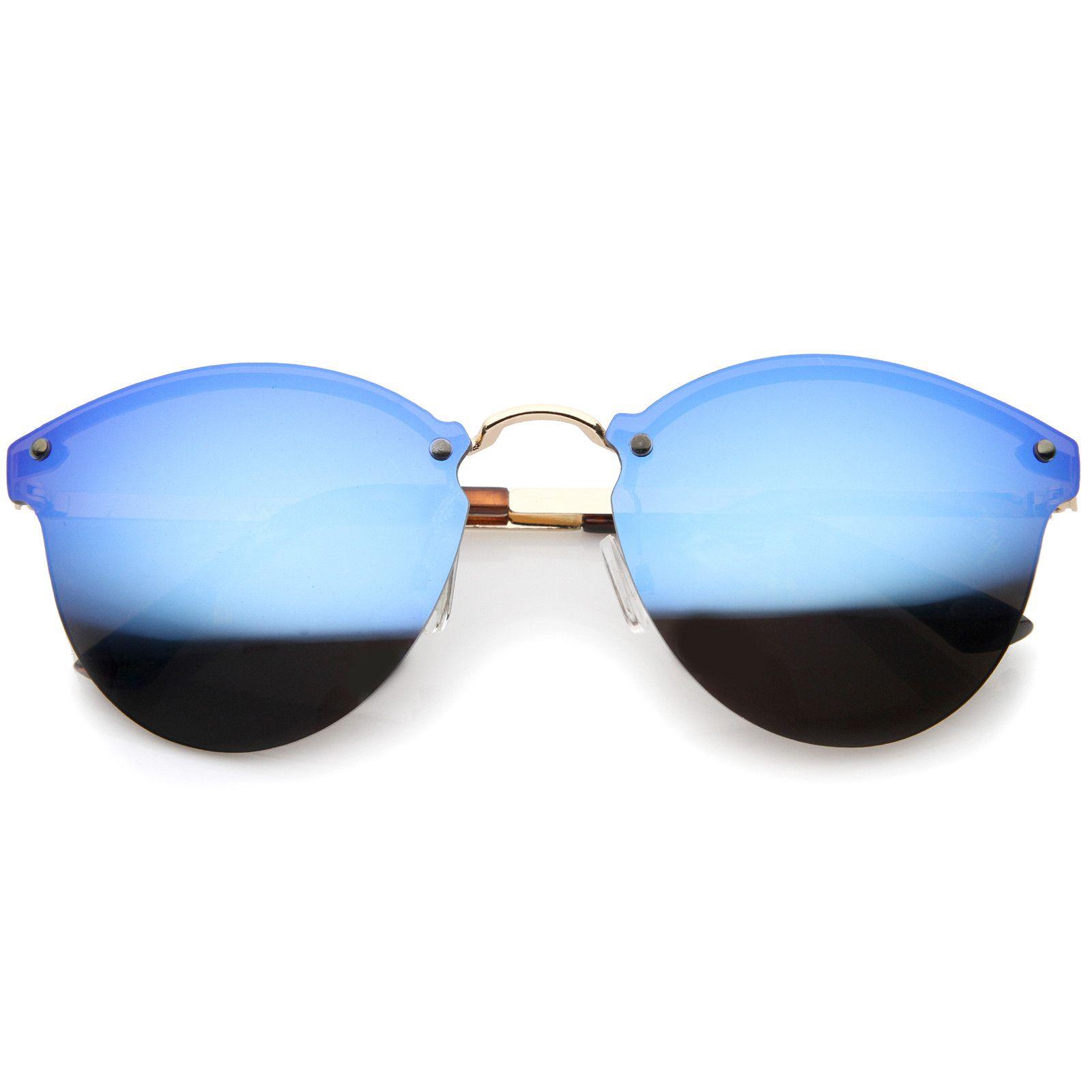 f875f95535 Womens Fashion Iridescent Lens Rimless Metal Temple Cat Eye Sunglasses