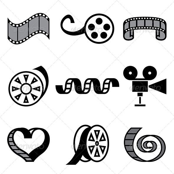 Cinema And Movie Hand Drawn Icons Film Logo Hand Drawn Icons Vector Logo