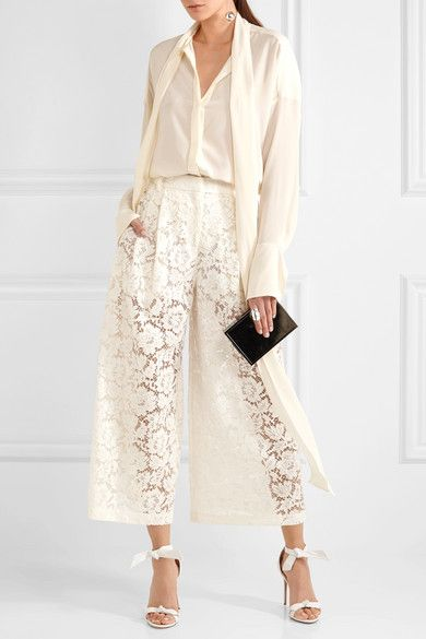 Cropped Corded Cotton-blend Guipure Lace Wide-leg Pants - Ivory Valentino msKYxu