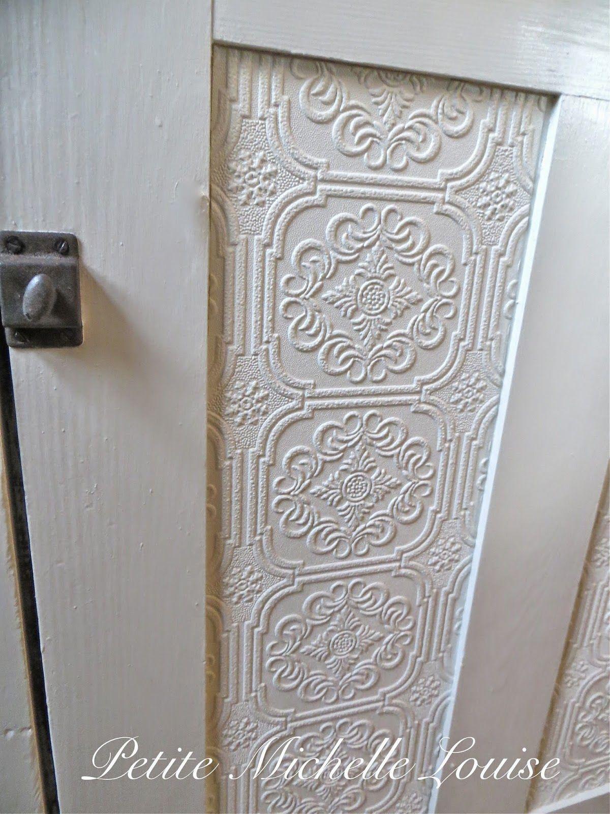 Diy Cabinet Door Facelift Using Paintable Textured Wall Paper