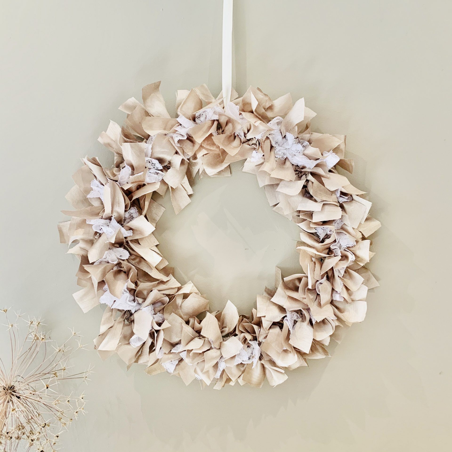Photo of Handmade Cotton and Lace Rag Wreath, Shabby Chic Home & Wedding Decor – The British Craft House