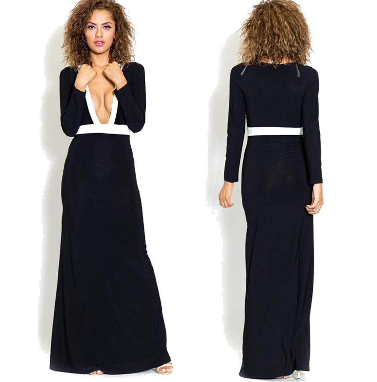 Super deep vneck black and white maxi dress sexy open front black