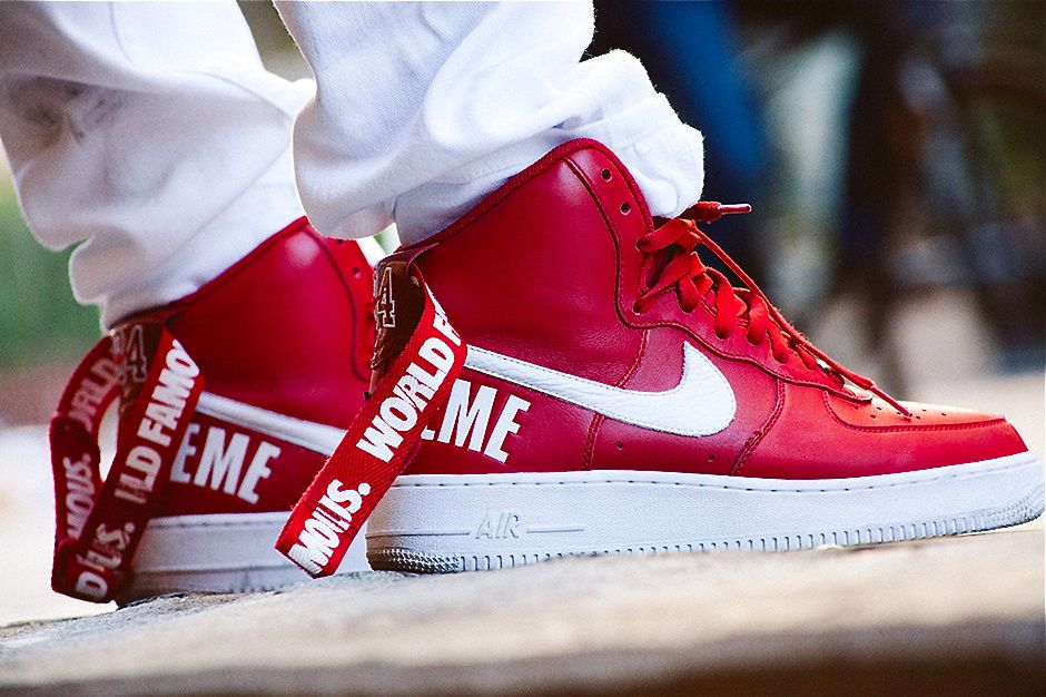 Nike Air Force 1 AF 1 Supreme High Hi Red Size 9 DS