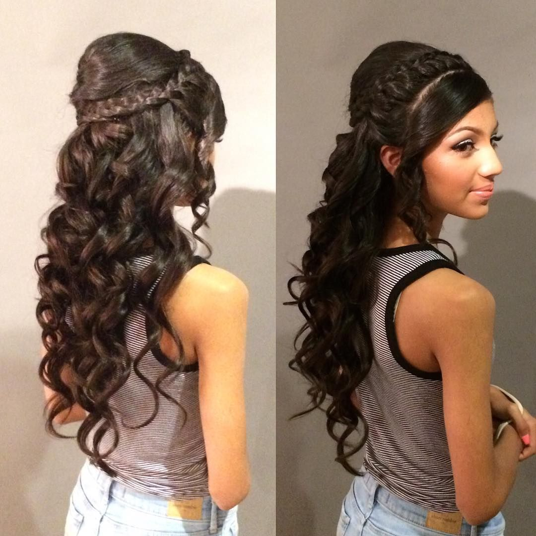 Another Beautiful Quencera Girl I Did A Wile Back Hair By Katyshairstyles Makeup By Lisaher Quinceanerahai Quince Hairstyles Mexican Hairstyles Hair Styles