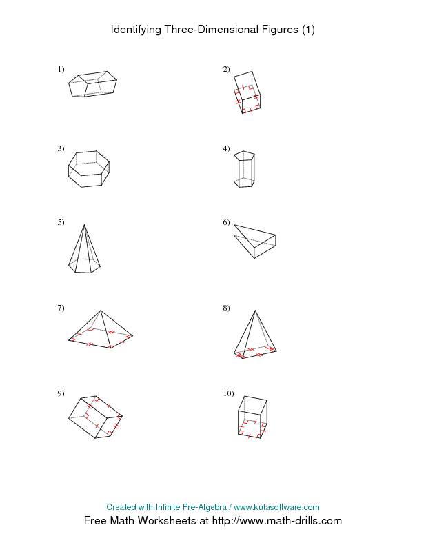 Identifying Prisms And Pyramids A Geometry Worksheet Geometry Worksheets Math Drills Teaching Tools