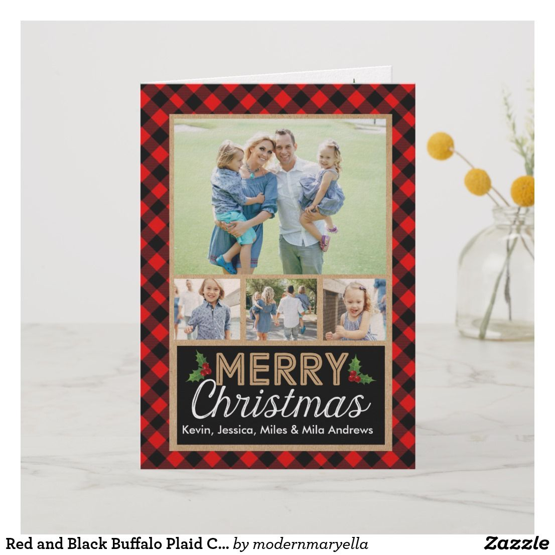 Red And Black Buffalo Plaid Check Christmas Card Zazzle Com Christmas Card Wishes Christmas Photo Greeting Cards Custom Christmas Cards