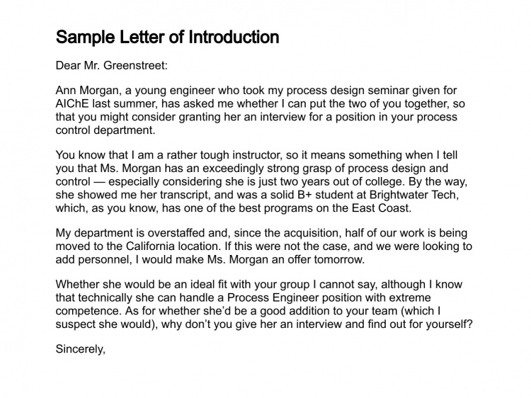 Sample Letter Of IntroductionBasic Cover Letter  Cover Letter