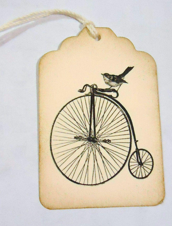 Bird on Bike Handmade Wedding Wish Tag Favor 6 Pieces. | birds of a ...