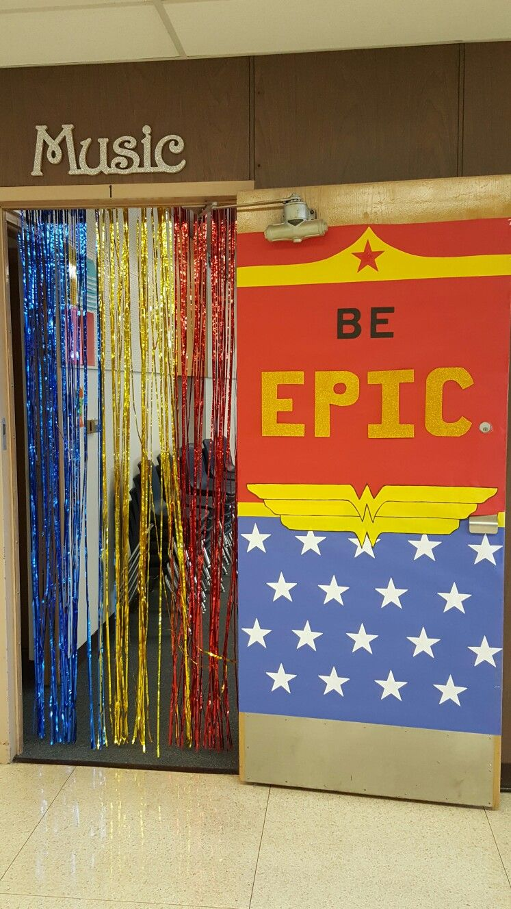 Wonder woman door decorations.