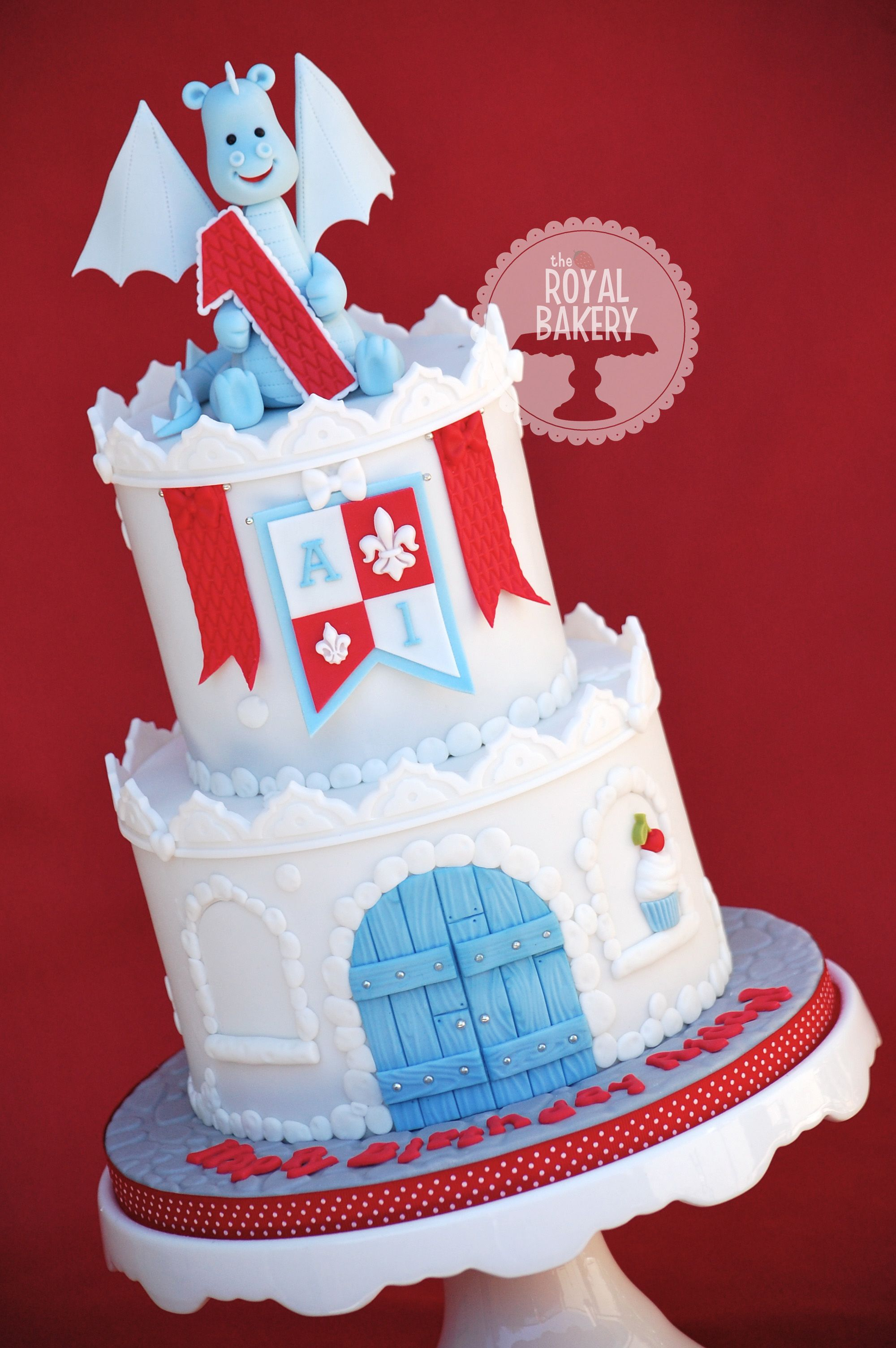 castle cake with dragon - a little castle cake for a baby boy