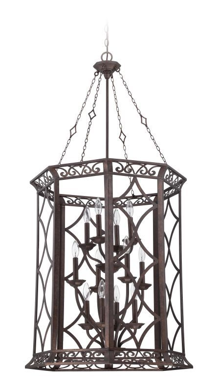 Jeremiah Lighting 36432 Evangeline 12 Light Foyer Indoor Pendant - 24.75 Inches Peruvian Bronze Indoor Lighting Pendants Foyer