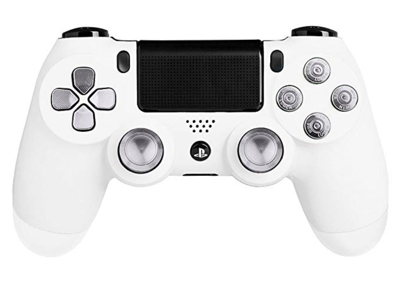 White Silver Buttons Ps4 Controller Ps4 Controller Gaming Products White Silver