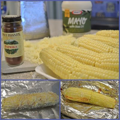 Spread fresh corn on the cob with mayo  then roll in grated Parmesan cheese and sprinkle with paprika. Cover in foil and cook on upper rack of grill for 30 minutes or until cooked. Voila! Delicious.