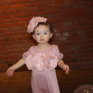 Photo of Pink Baby Girl Romper Set Infant One Piece Set with Shabby Chiffon Flowers and Hat