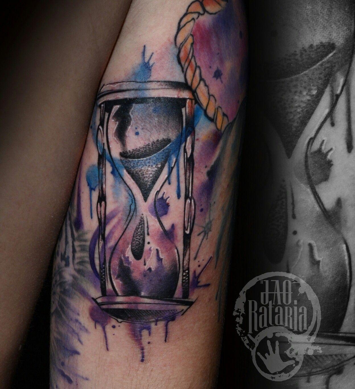 Ampulheta tattoo time tempo aquarela watercolor