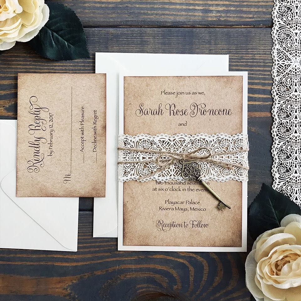 vintage rustic lace spring wedding invitation with key/ rustic chic ...