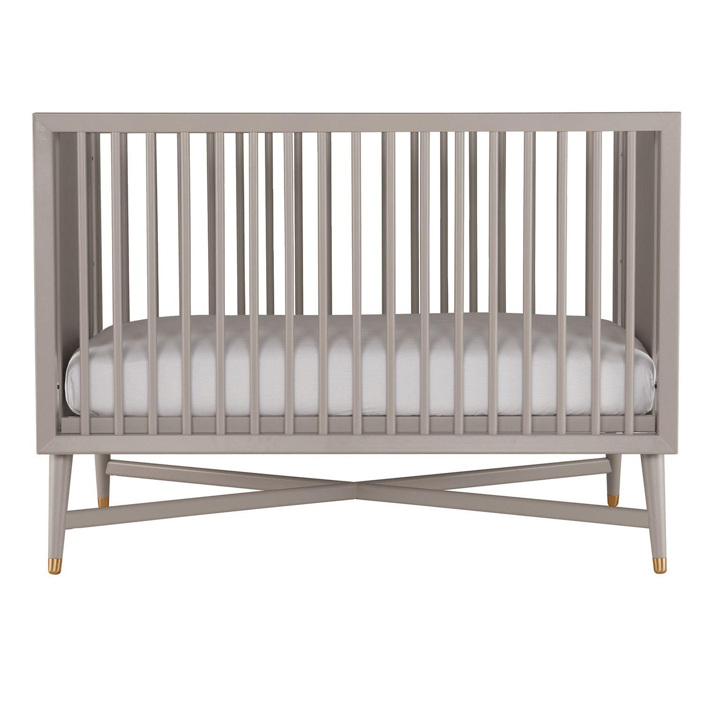 Dwellstudio Mid Century Convertible Crib In French Grey Cribs Convertible Crib Dwell Studio