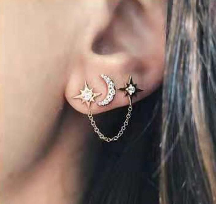 Photo of Timlee E305  New Fashion Sweet Lovely Star Moon Chain Rhinestone Alloy Drop Earring Personali…