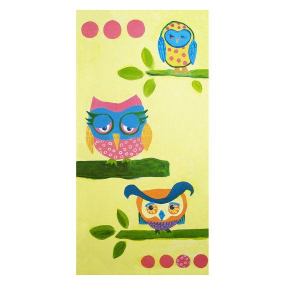 Cute Owl Print - Nursery Art with Pink Polka Dots - by Bidy Baby ...