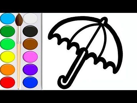 Как нарисовать ЗОНТ мультик раскраска ЗОНТИК для детей ...
