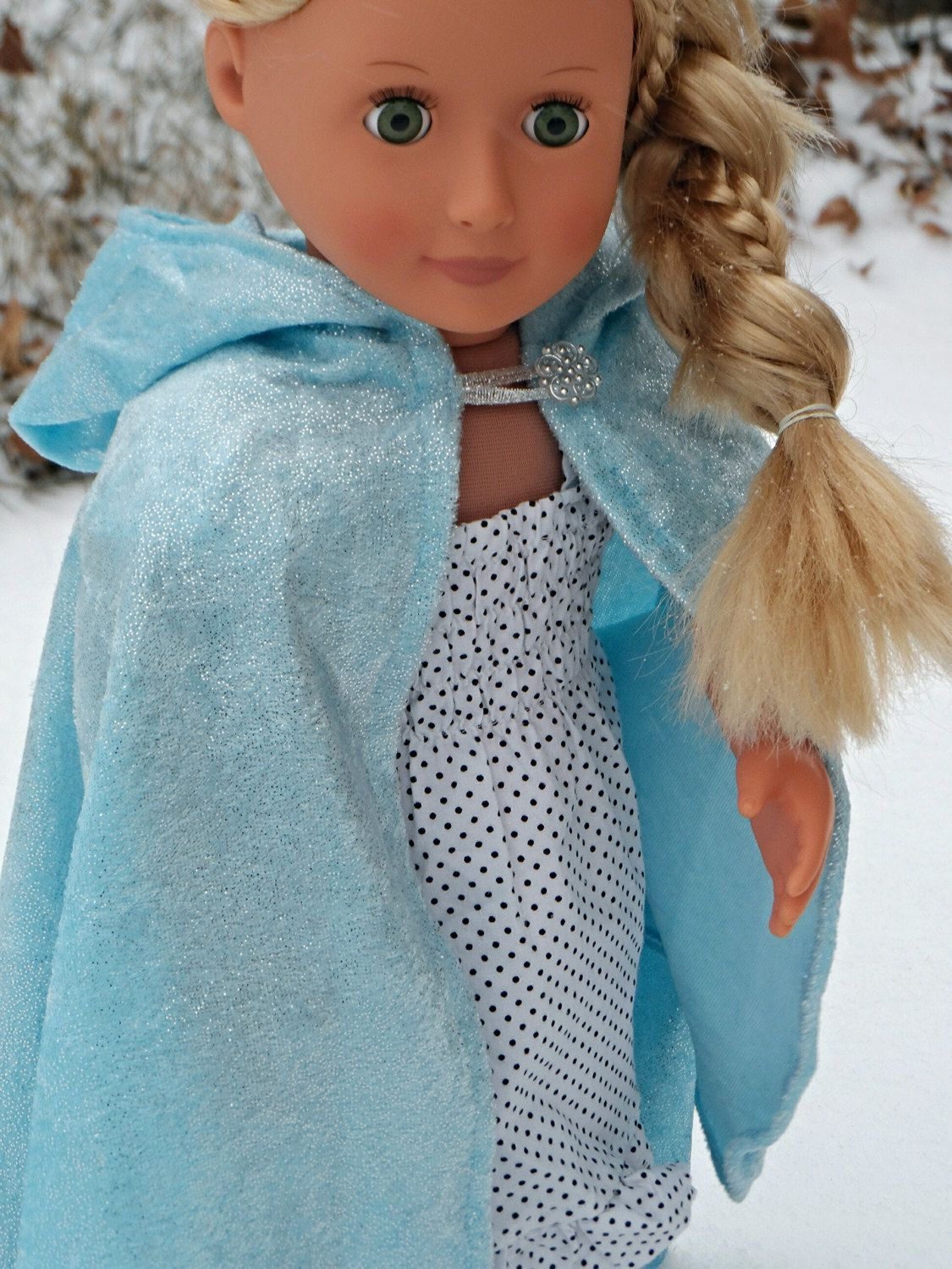 """Elsa / Once Upon a Time / Snow Queen inspired Cloak / Cape for American Girl 18"""" Doll Crushed Sparkle Velvet Ready to go- Frozen Elf Hobbit cloak gift once upon a time snow white Frozen princess cape costume 18 inch doll Elsa Lord of the Rings cosplay Snow Queen 18.00 USD #goriani"""