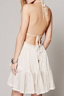 Halter Lace Splicing Backless Dress