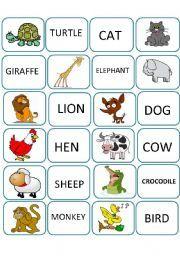 English Worksheet Memory Game Animals First Part