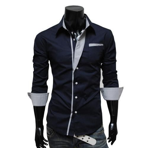 e69fe86c13b73 Camisetas para hombre de la moda coreana racha delgado camisas de .