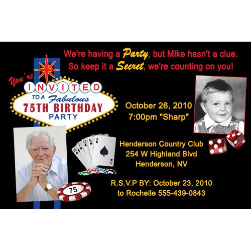 Casino Style Surprise Photo Birthday Party Invitation