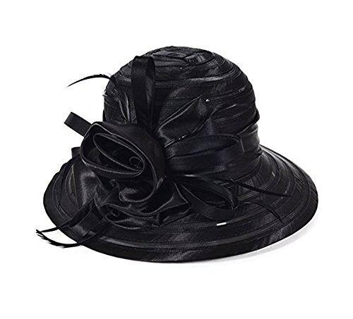 ICSTH WOMEN S Oganza Sun Hat Cloche Oaks Church Dress Bowler Derby Wedding  Hat Party 3186b1bf403f
