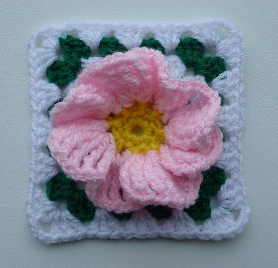 Instant Download PDF crochet pattern - Flower in granny square (2)