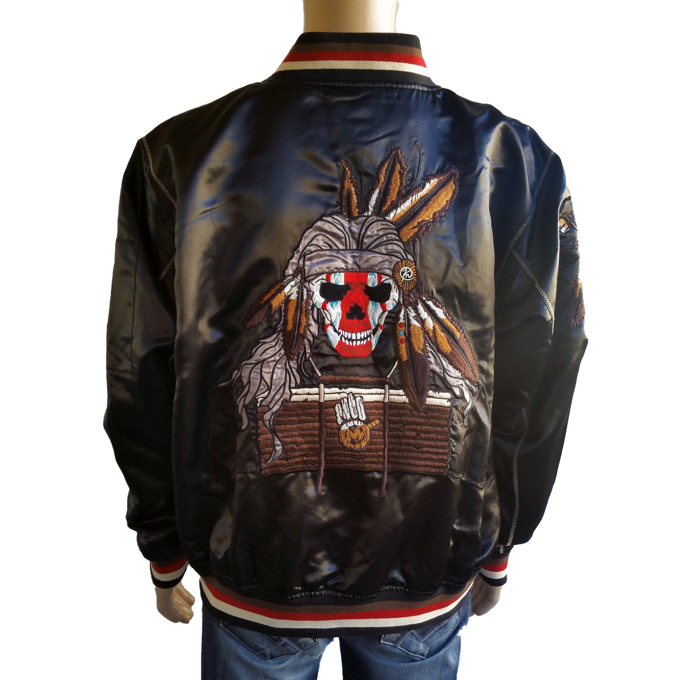 Vintage Miskeen Mens Satin Bomber Jacket Size Xl Indian Skull Embroidered Streetwear 90s Hip Hop Clothing By Satin Bomber Jacket Hip Hop Outfits Bomber Jacket [ 2160 x 2160 Pixel ]