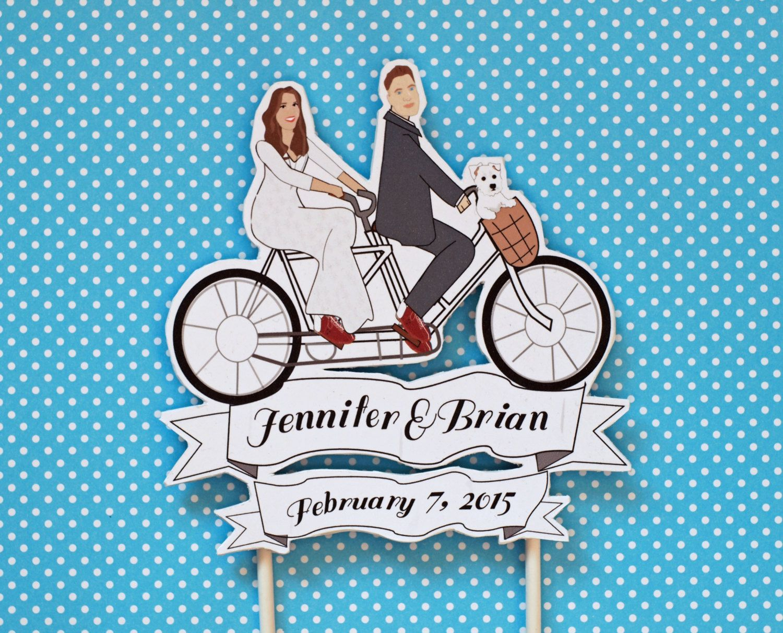 Vintage Tandem Bike Wedding Cake Topper Custom Drawing Westie Dog Cat Basket Bowling Shoes Spring By