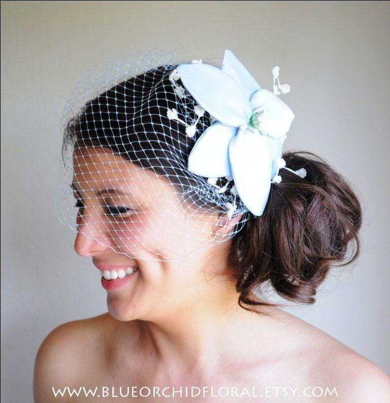 e335cdc8e26 Blue Bridal Fascinator Wedding Head Piece with Birdcage Veil.  83.25 ...