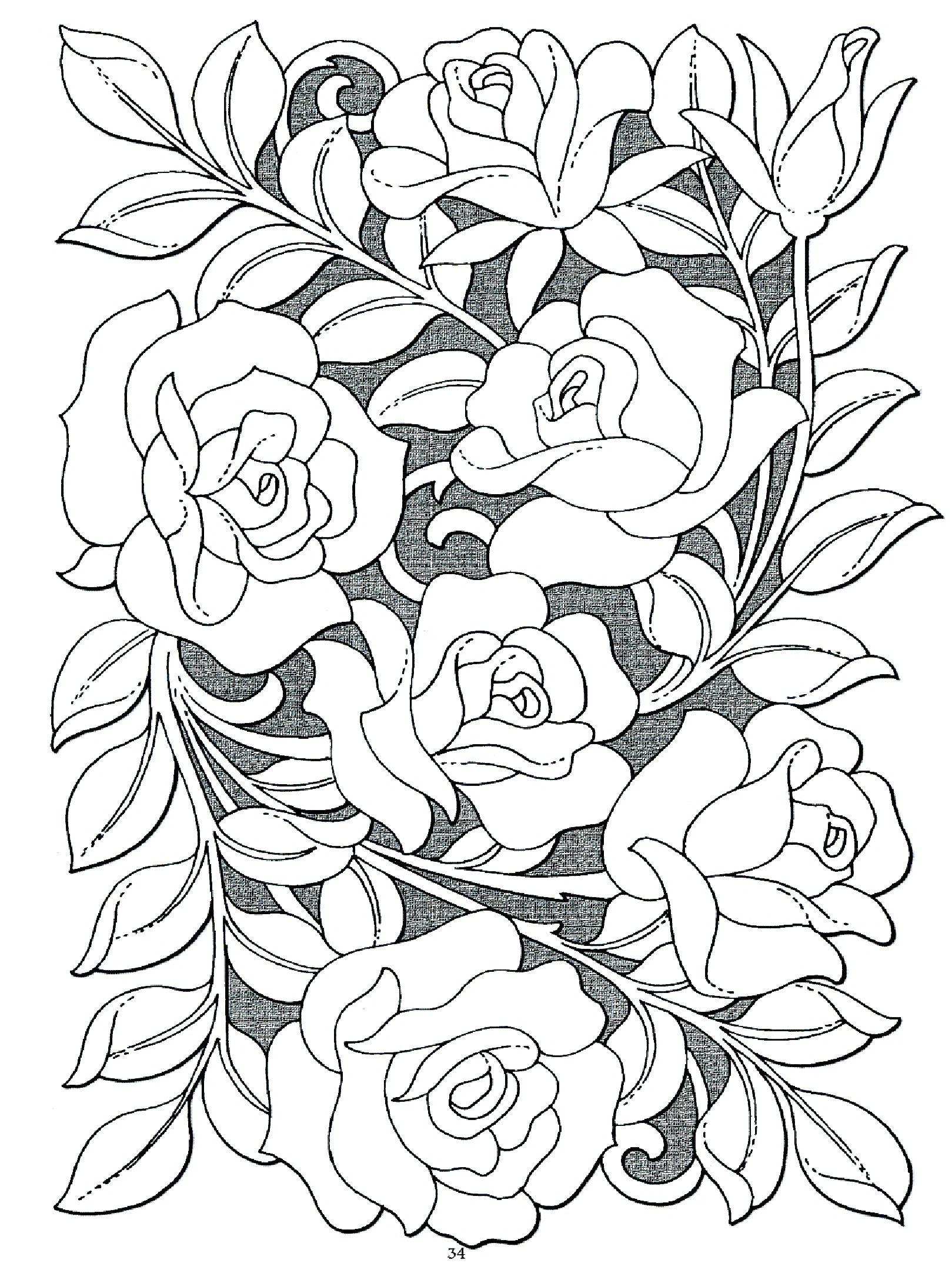 Élégant Image Bouquet De Fleurs à Colorier