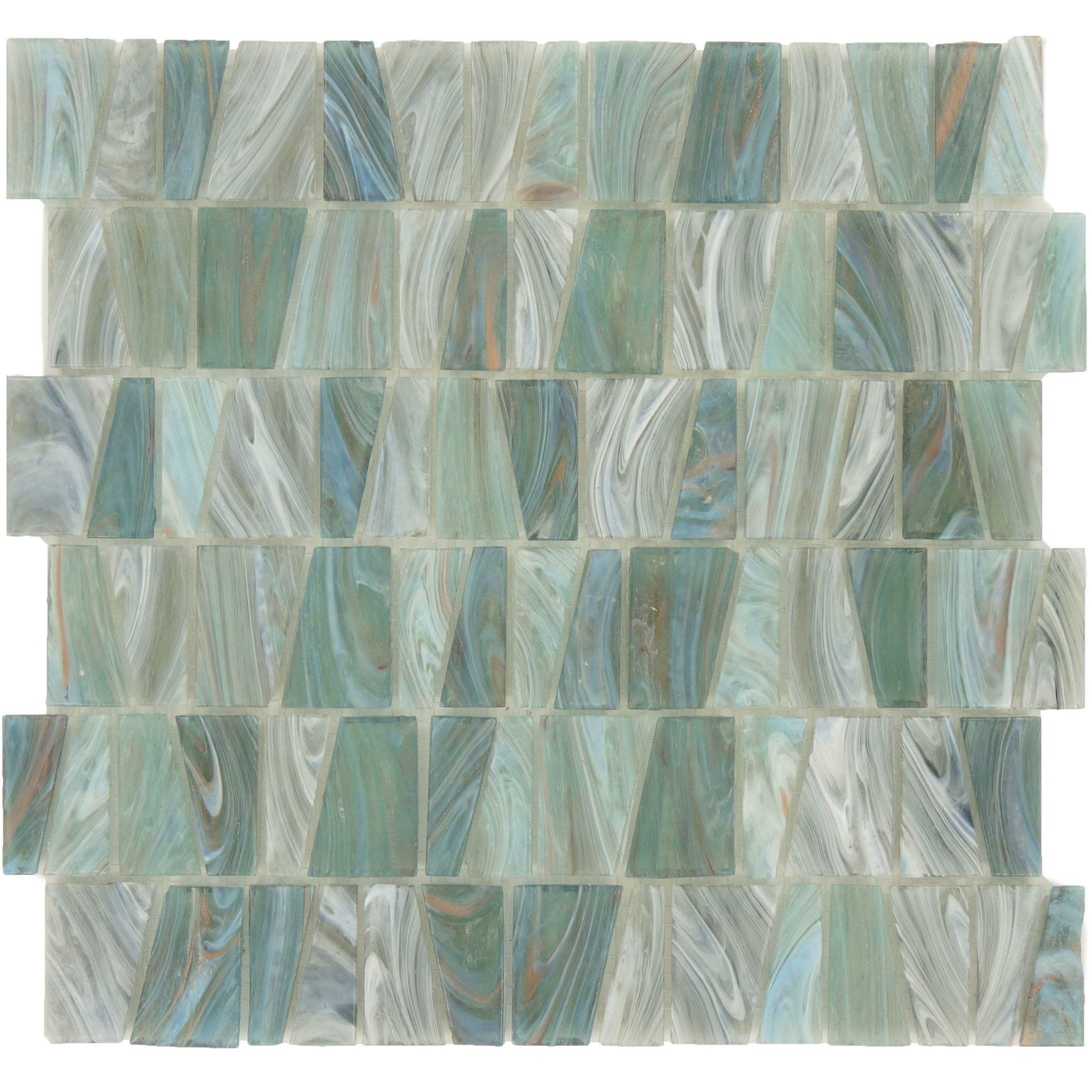 Aqua Green Stained Glass Trapezoid Tile Green Glass Green Mosaic Tiles Aqua Green
