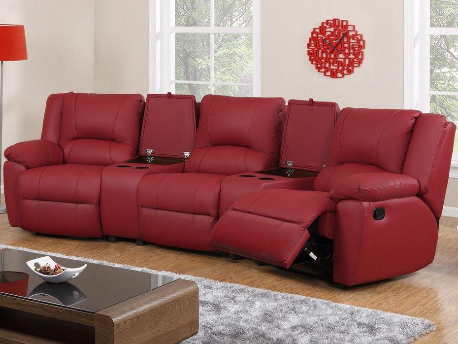 Relaxsofa Leder 3 Sitzer Aroma Rot Haus Deko Sofa Relaxen