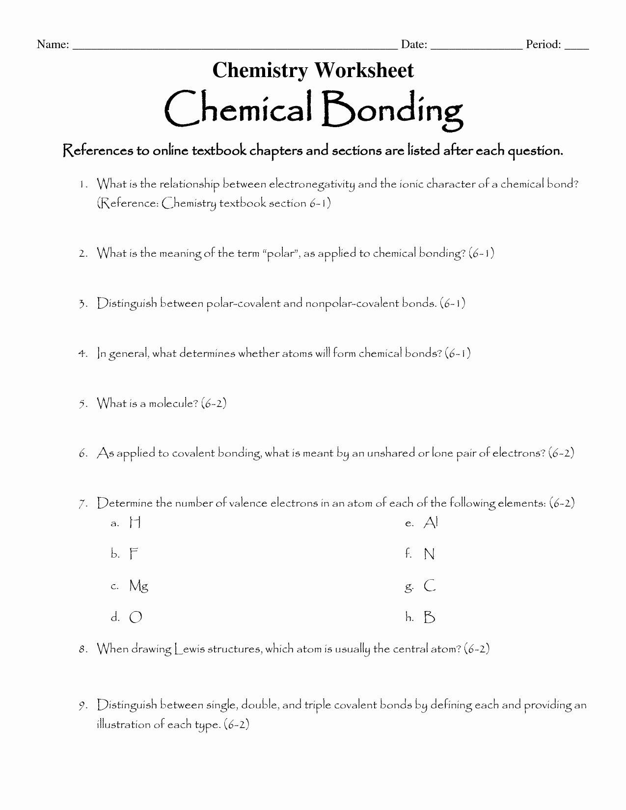 Chemical Bonding Worksheet Key Unique 16 Best Of Types