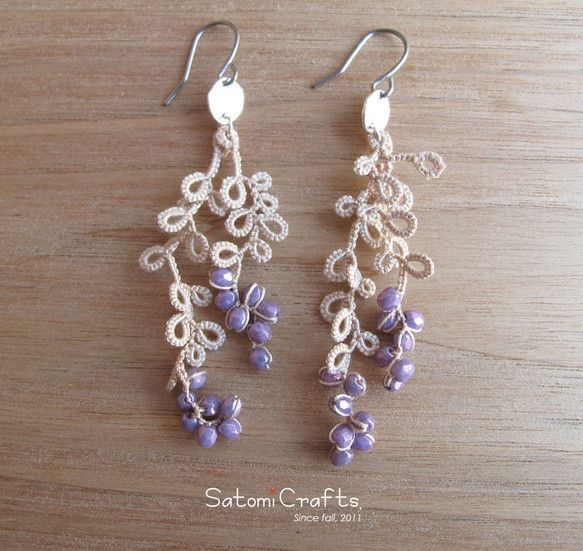 """Orders production"" Tatting_berry_ (white + amethyst)"