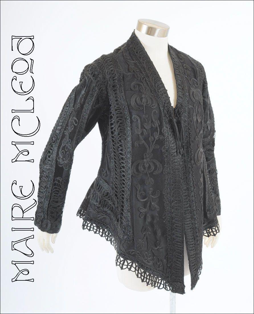 Bonwit Teller Victorian Womens Black Lace Jacket 1890's  *Exceptional *Grt Sz, Cond