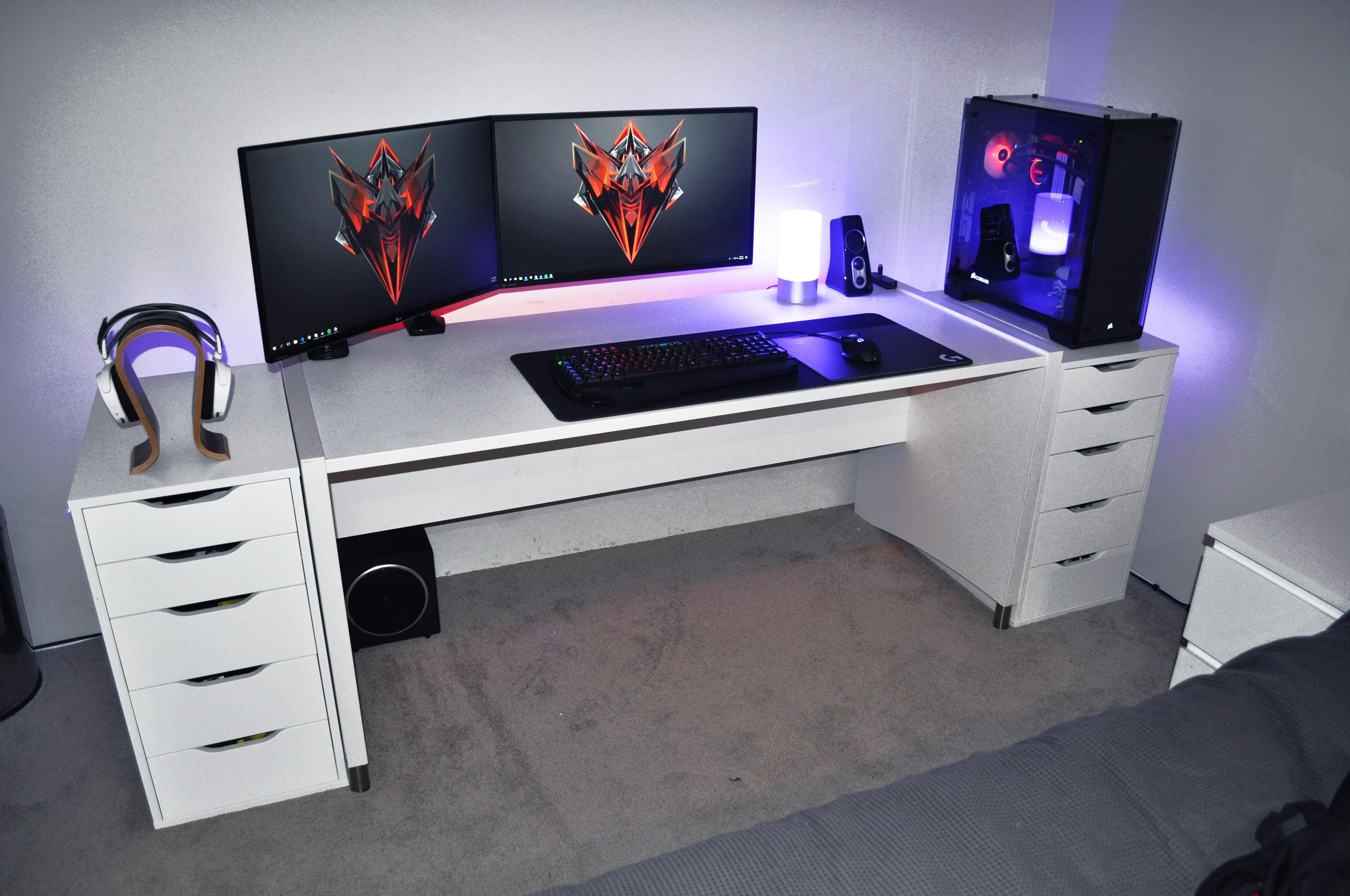 Removed The Desks Two Middle Drawers And Added More Rgb Home Office Setup Gaming Desk Setup Desk Layout