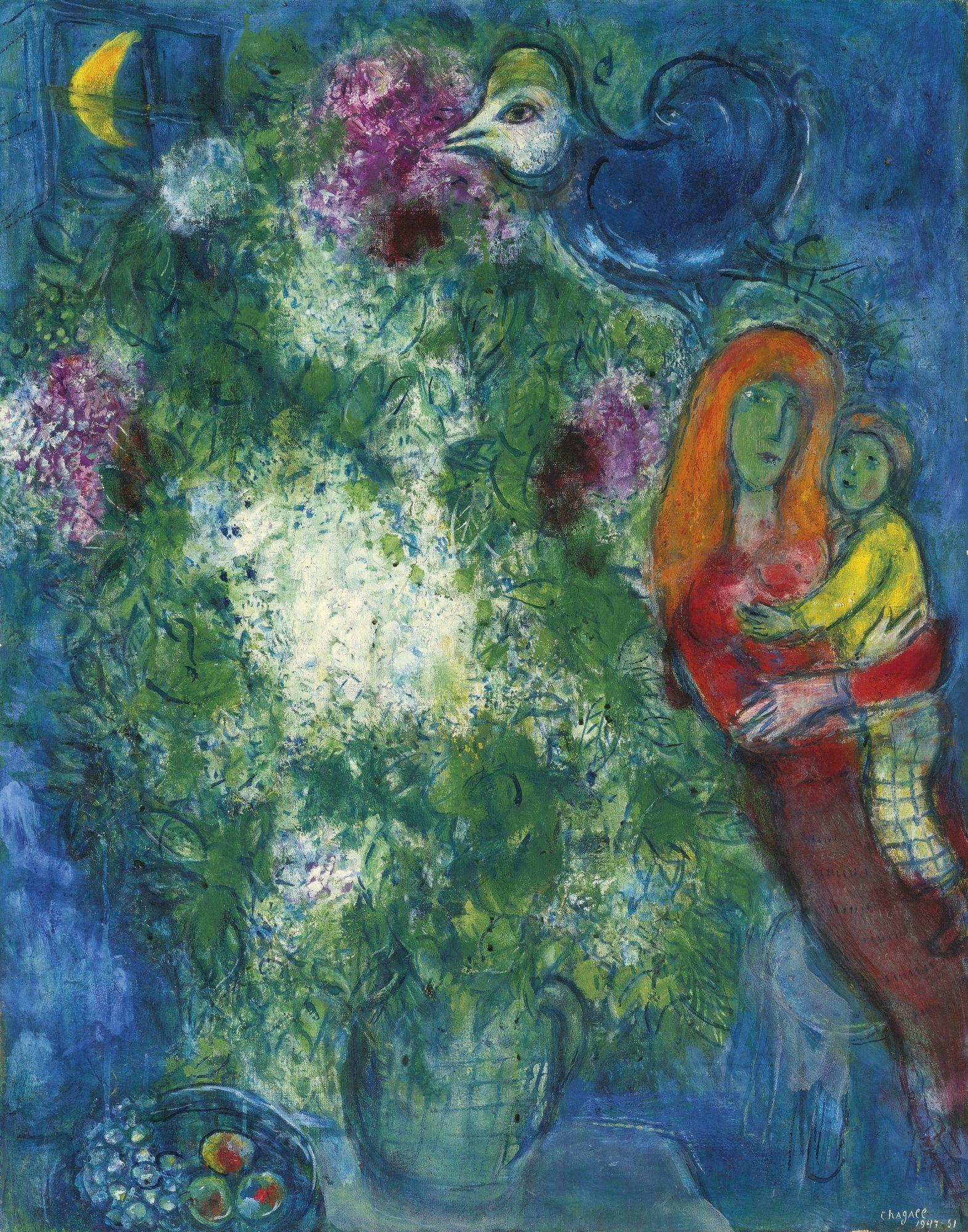 Marc chagall 1887 1985 la m re et l 39 enfant signed for Chagall tableau