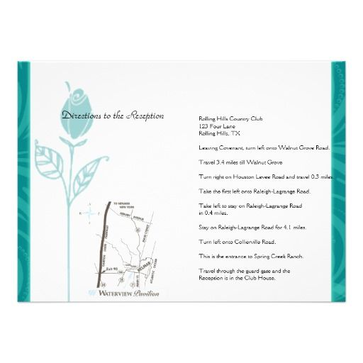 Teal Rose Graphic Wedding Direction Personalized Invitations