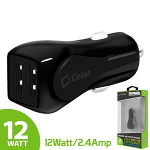 Cellet Prism RapidCharge 12W 2.4A Dual USB Car Charger for Android and Apple Devices - Black