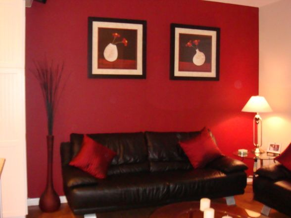 Love The Red Accent Wall With A Black Couch