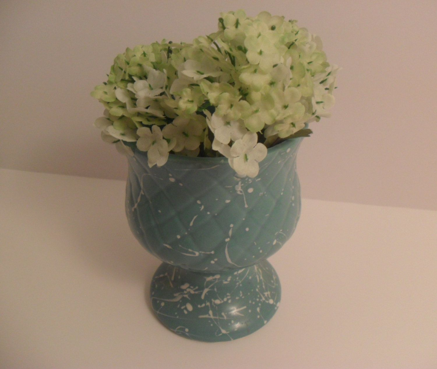 Vintage Unmarked Turquoise Footed Vase by TheRiversEdgeVintage
