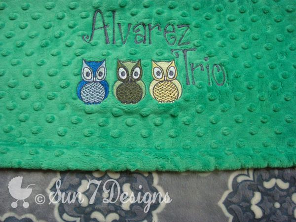 Custom designed personalized baby blankets at www.sun7designs.com Also on Facebook at www.facebook.com/sun7designs