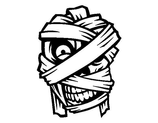 Dibujo de Cabeza de momia para Colorear | recursos halloween | Pinterest