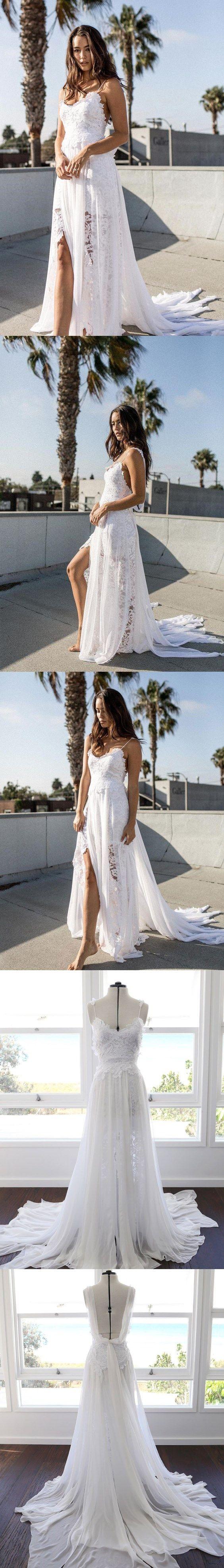Open back wedding dresses spaghetti straps long train lace simple
