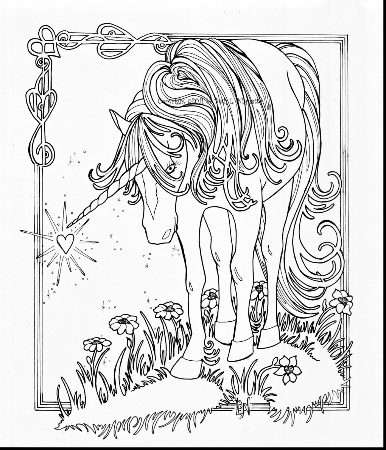 Elegant Zentangle Patterned Horse Portrait Doodle Page For Adult